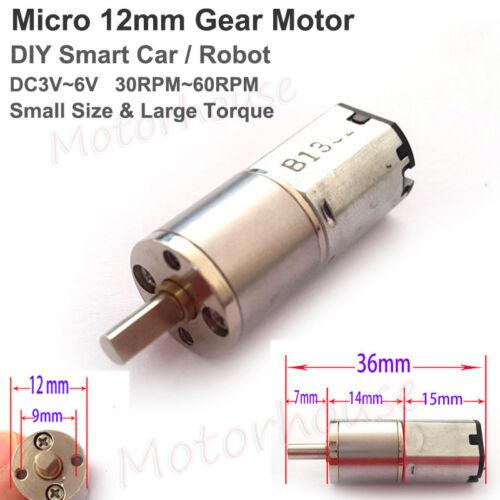 Mini 12mm Metal Gearbox Gear Motor DC 3V-6V 60RPM Slow Speed DIY Smart Car Robot