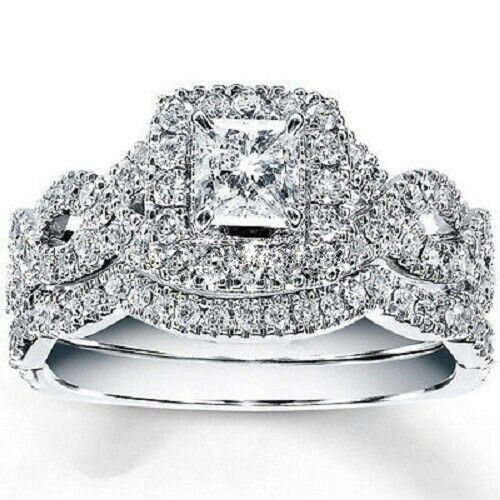 Ladie's Engagement Wedding Bridal Set 1.60 CT Princess Diamond 14K White gold FN