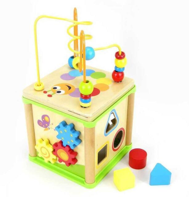 NEW Top Bright Childrens 5 in 1 Wooden Activity Cube - Bead Maze, Sorter, Clock
