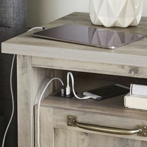Modern Farmhouse Nightstand Bedside Couch Side End Table With USB in Rustic Gra