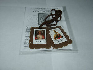 BROWN-SCAPULAR-WITH-INFO-LEAFLET-CHRISTIAN-BRAND-NEW-BUY-2-GET-1-FREE-FREE-P-amp-P