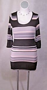 NEW-Black-Pink-Lavendar-Stripes-Junior-Plus-Short-Mini-Sweater-Dress-XL-10-12