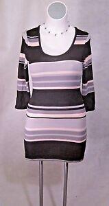 NEW-Black-Pink-Lavender-Stripes-Junior-Plus-Short-Mini-Sweater-Dress-XL-10-12