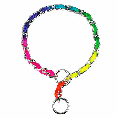 3Size Training P Choke Dog Pet Chrome Metal Chain Collars Fashion Rainbow Color