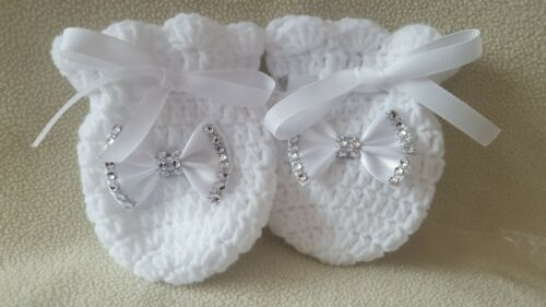 Hand knitted Romany Bling baby girl booties//Crochet//hat//mittens//headband.0-3