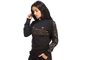 2830e26a5f Details about Ellesse Women's Black Satin Half Zip Track Top Fleece  Sweatshirt Brand New