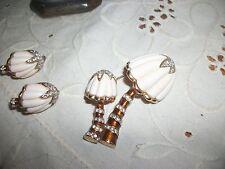 hattie carnegie mushroom brooch/ earrings-vintage-great!
