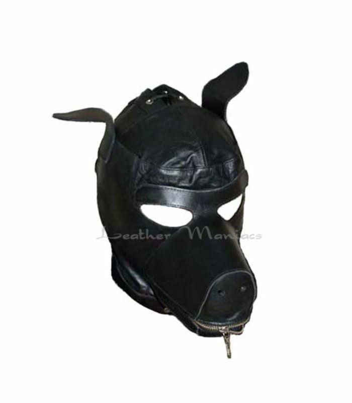 Ledermaske Hundemaske Mask Dog Costume Leather Dog Hood