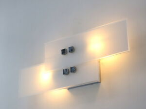 Applique moderno led bagno acciaio cromato camera da letto vetro