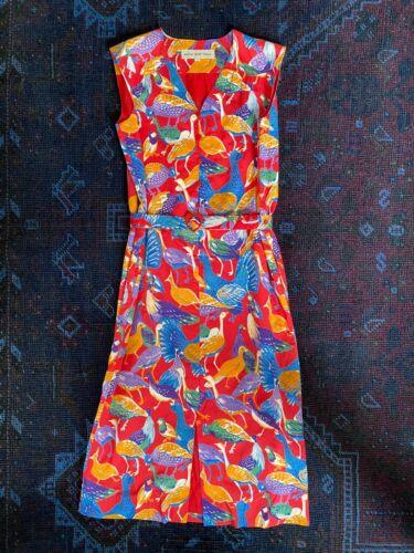 VINTAGE Hanae Mori Bird Dress   Red   Size Small 4