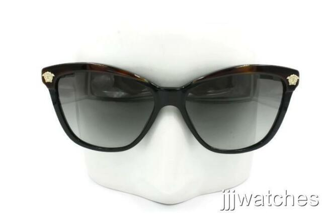 c37c73e4a98 New Versace Women Cateye Polished Black Gradient Sunglasses VE4313 518011 57