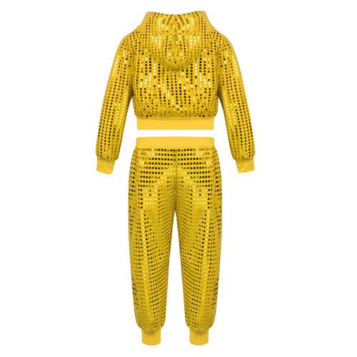 US Kids Girls Hip-hop Jazz Dance Costume Sequins Crop Top Shorts Clothes Outfit