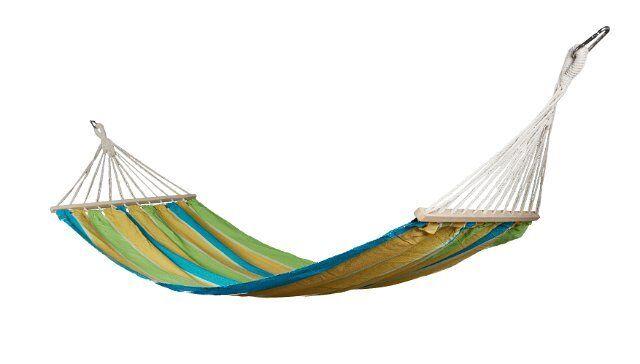 Hängematte Hängematte Hängematte Single Relax  HAWAI blau-grün-gelb gestreift mit Karabinerhaken NEU 857de2