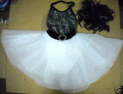 TAP COSTUME DANCE BLACK WHITE TAPESTRY GIRLS feather accessories Wolff Fording