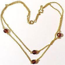collier bijou vintage année 70 double chaine perle verre ambré couleur or * 4940