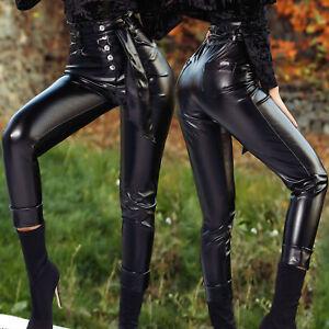 FOGGI-Damenhose-Huefthose-Roehrenhose-Skinny-schwarz-Lederlook-34-38-F642