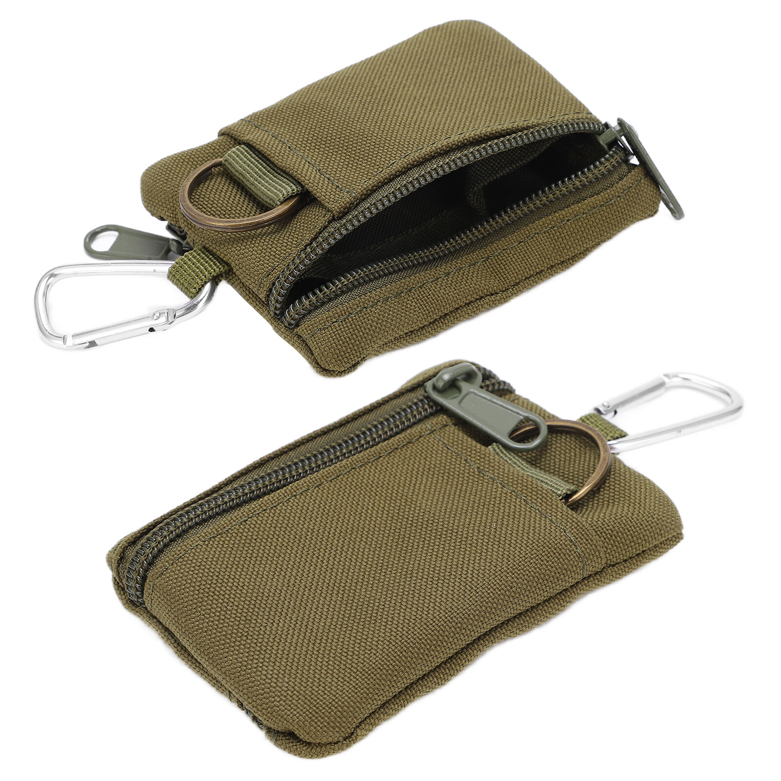 Outdoor EDC Molle Pouch Wallet Key Card Case Coin Purse With Carabiner(Green)X