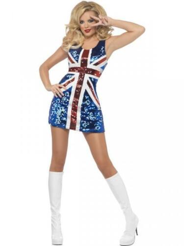 olympic c Ladies Glitter Union Jack Great Britain Fancy Dress Costume Jubilee