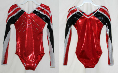 """Scarlett"" Girls LS Long sleeve competition gymnastics leotard FoilCrystals"