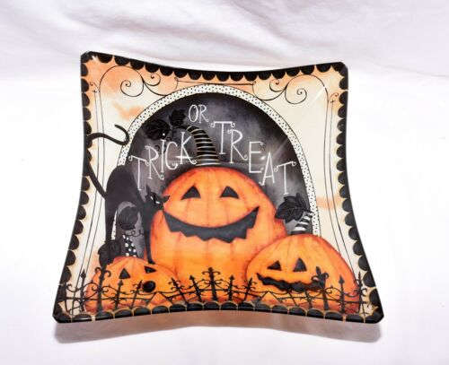 """10.5/"""" Halloween Trick OR Treat Black Cat with Pumpkins Glass Serving Bowl Dish"""