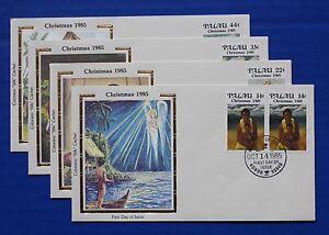 "Palau (90-93) 1985 Christmas - Island Mothers & Children Colorano ""Silk"" FDCs"