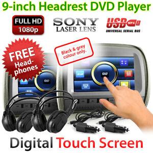 "2x 9"" Touch Screen Car Headrest DVD Player Monitor Pillow Games 1080P USB MP4 OZ"