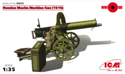 1910 Russian Maxim Machine Gun 1:35 Plastic Model Kit ICM