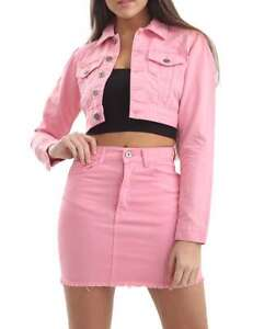 Denim-Button-Detail-Ladies-Jeans-Crop-Jacket-Co-Ord-Mini-Skirt-P84