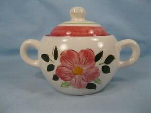 Wild-Rose-Sugar-Bowl-With-Lid-Stangl-Pottery-Pink-Flowers-Dura-Fired-Vintage-O