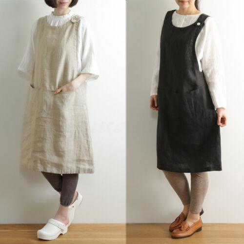 UK 8-24 Women Cotton Sleeveless Casual Loose Kitchen Cooking Apron Shirt Dress
