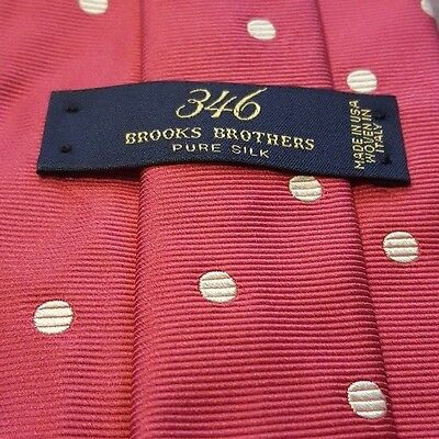 """Authentic, Brooks Brothers 346, Silk, Hot Pink, Polka Dot Print, Neck Tie (60"""")"""