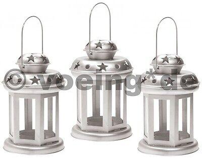 Glorioso 3x Metallo Decorativo-candele Lanterna Lanterna Decorazione Lanterna Lume Di Candela Colore Argento-
