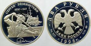 Russland-2-Rubel-1998-S-Eisenstein-Silber-925-PP-leichte-Patina