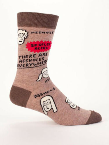 Blue Q Novelty Father/'s Day Gift Men/'s Crew Socks Assholes Are Everywhere