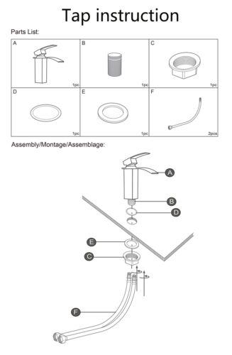 Mixer Tap bathroom Basin Chrome Bath Shower Modern Sink Filler Taps Waterfall UK