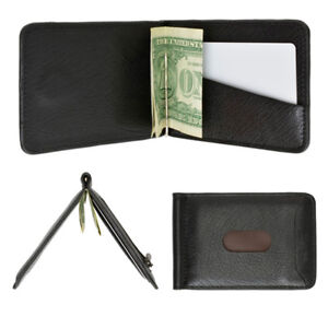 5b74a63e5260 Mens Genuine Leather Money Clip Slim Wallet Magnetic Black ID Credit ...