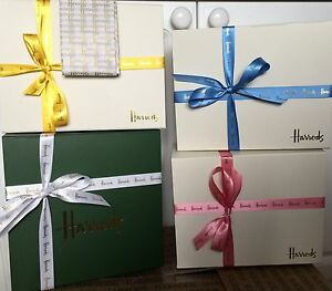 Harrods Green or Ivory Gift Box with logo tissue & ribbon ...