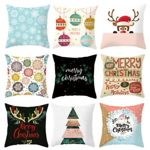 16/'/' UK Christmas Xmas Santa Claus Cushion Cover Pillow Case Home Decor Snowman