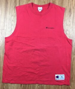 4db72fc8 VTG 90's Men's Champion XL Extra Large Red Spell Out Tank Top ...