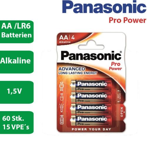 60 x Panasonic Alkaline Pro Power AA MN1500 LR6 Mignon 1,5V  15 x 4er Verpackung