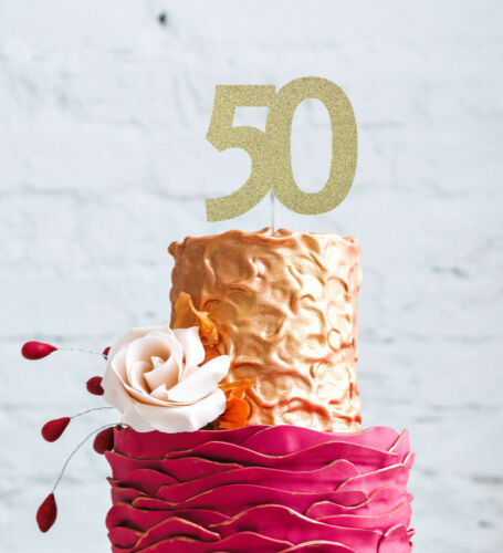 Large Number 50 Cake Topper 50th Birthday Cake Topper Glittery Dark Pink