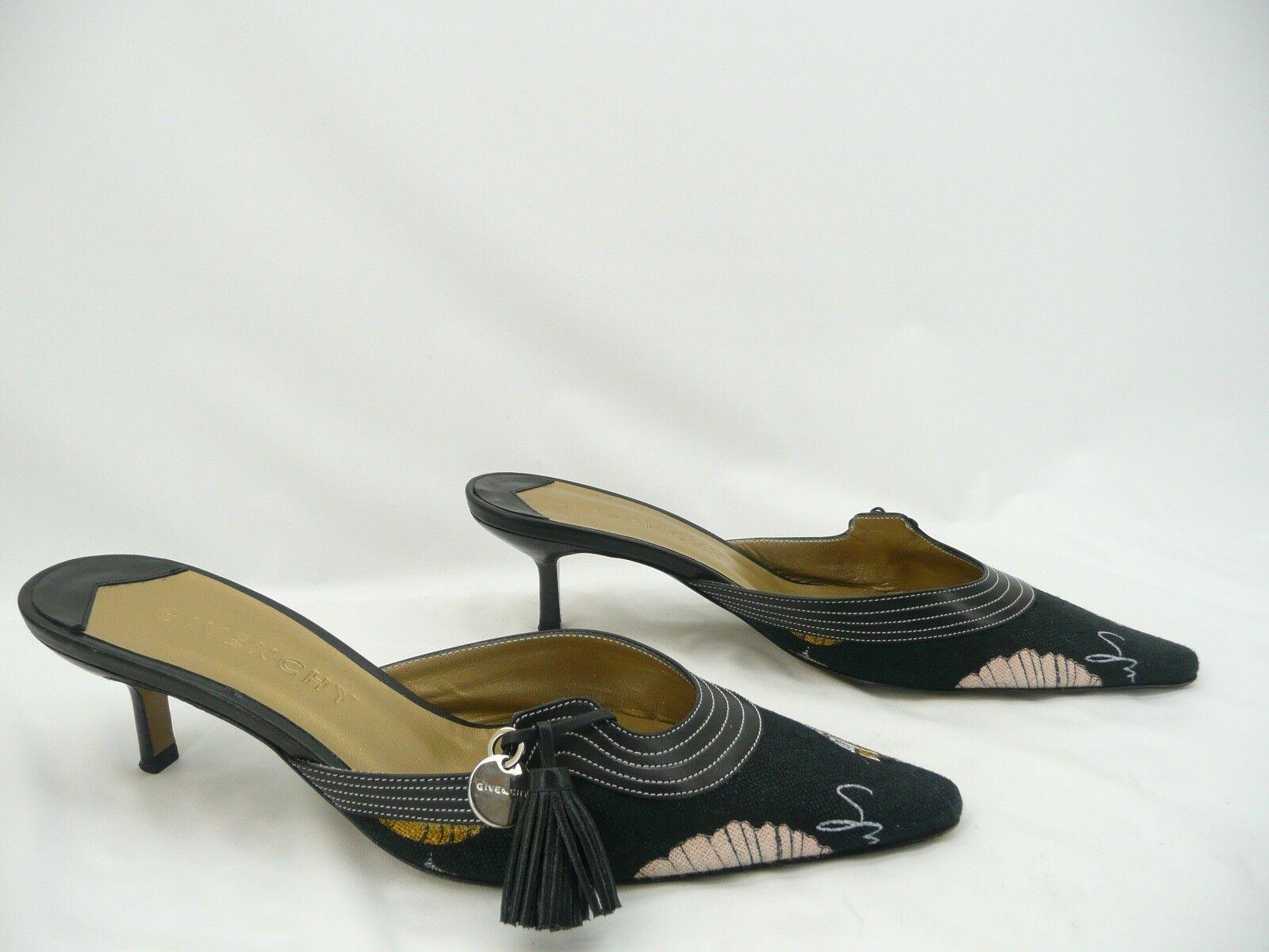 Givenchy läder  Fabric Print Kitten klackar Slides skor Sz 37   7
