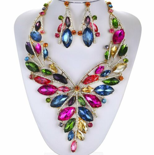 SENSATIONAL AUSTRIAN RHINESTONE CRYSTAL BIB NECKLACE EARRINGS SET LG N887M MULTI