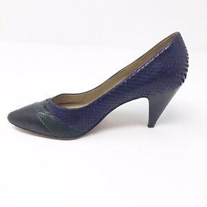 "325456e262a9 Casadei Color Block Heels Size 7 Pumps 3.25"" Purple And Black"