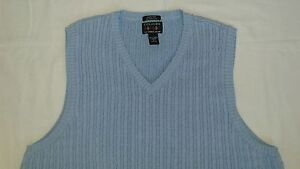 Men's Alexander Julian Colours Cable Cricket Sweater Vest Light Blue Size XL