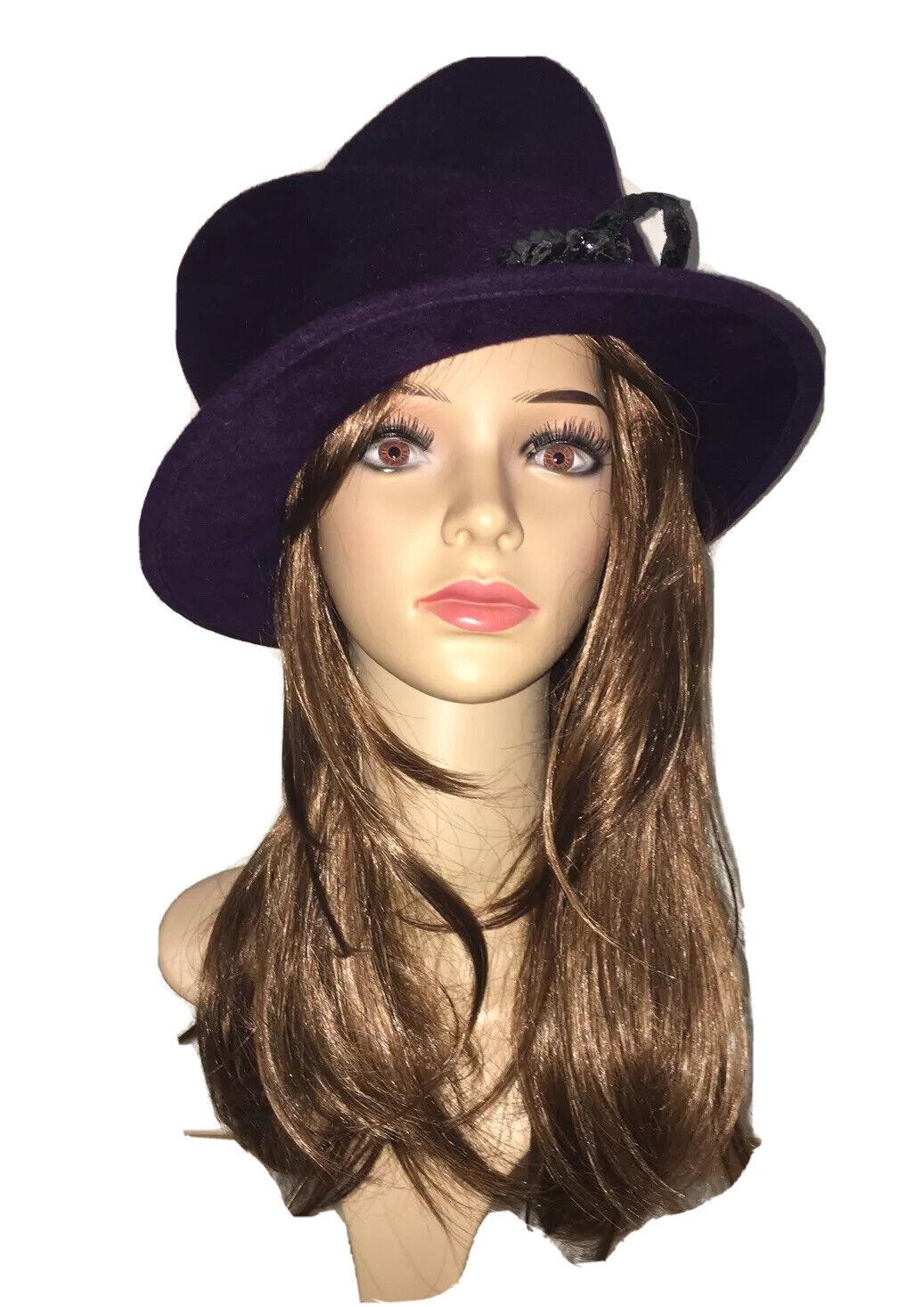 Philip Treacy Vintage Deep Purple Felt Hat Royal Ascot Races Wedding RRP