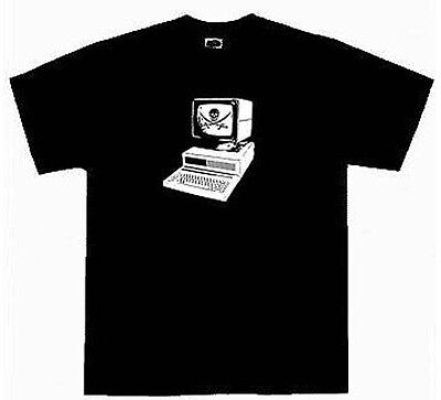 Kids Computer Pirate Hacker Nerd T-Shirt Size XS-L Graphic Tee Shirt Red