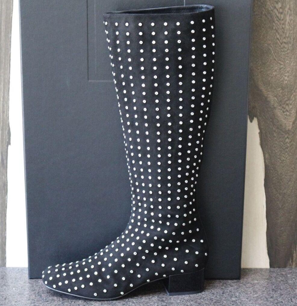 NIB YSL Saint Laurent PARIS MOD SUEDE CRYSTAL STUDDED Knee High Boots Shoes 39