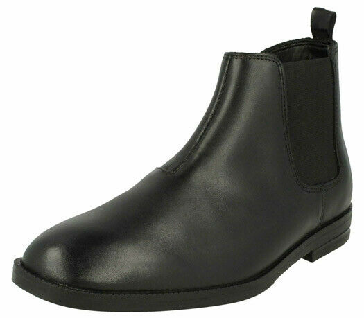 Clarks Boys School Shoes BOOTS Black Leather Size Uk 8 G Adult