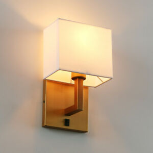 1/Pair Modern Cloth Fabric Shade Wall Lamp Bedside Wall Light Double Iron Sconce